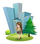 A woman near the pine tree across the tall buildings — Stock Vector