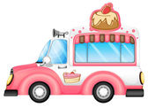A pink vehicle selling cakes — Stock Vector