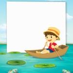 Boy on boat banner — Stock Vector #51083711