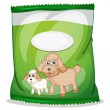 ������, ������: A green dogfood pouch with an empty label