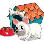 A cute bulldog outside the doghouse — Stock Vector #51084897