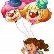 A happy girl holding clown balloons — Stock Vector #51089491
