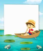 Chlapec na lodi banner — Διανυσματικό Αρχείο