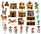 Western cowboys — Stock Vector