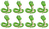 Different snake expressions — Stock Vector