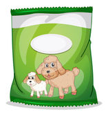 A green dogfood pouch with an empty label — Stock Vector