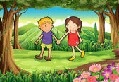 A girl and a boy at the forest — Stock Vector
