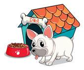 A cute bulldog outside the doghouse — Stock Vector