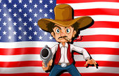 A cowboy in front of the USA flag — Stock Vector