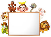 An empty signboard surrounded with animals — Stock Vector