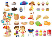 Set of things and foods for a picnic — Stock Vector
