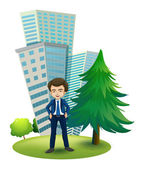 A businessman outside the office — Stock Vector