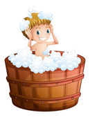 A young boy taking a bath at the big bathtub — Stockvector