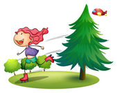 A girl rollerskating near the pine tree — Stock Vector