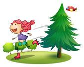 A girl rollerskating near the pine tree — Stockvektor