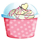 A sweet cupcake inside the pink container — Stock Vector