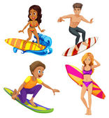 Male and female surfers — Stock Vector