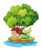 A mermaid in the island — Stock Vector