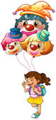 A happy girl holding clown balloons — Stock Vector