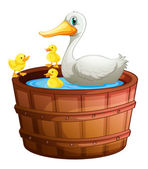 A bathtub with ducks — Stockvector