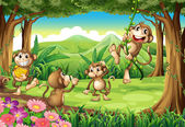 Monos jugando — Vector de stock