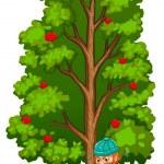 A man chopping near the fruit bearing tree — Stock Vector #51090403