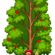A happy woodman under the tree — Stock Vector #51095999