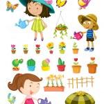 Kids watering the plants — Stock Vector #51098841