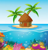 Hut on Island — Stockvector
