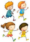 Simple kids running — Stock Vector