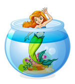 A mermaid inside the bowl — Stock Vector