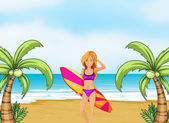 A female surfer at the beach — Vettoriale Stock