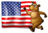 Flag and Bear — Stock Vector