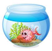 A fish inside the transparent aquarium — Stock Vector