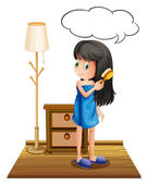 A girl combing her hair with an empty callout — Stock Vector