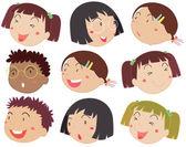 Children faces — Stock Vector