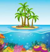 A beautiful island in the middle of the sea — Stock Vector