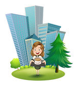 A woman outside the building holding a tray with coffee — Stock Vector