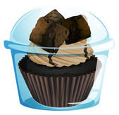 A transparent container with a chocolate cupcake — Vettoriale Stock