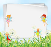 Empty paper templates with fairies — Vector de stock