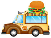 A vehicle selling burgers — Stock Vector