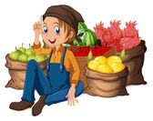 A young farmer near his harvested fruits — Stock Vector