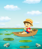 Boy on boat — Stock Vector