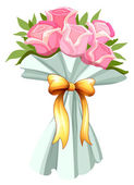 A bouquet of pink roses — Stock Vector