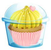 A cupcake inside the transparent container — Stock Vector