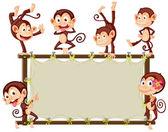 Monkey Banner — Stock Vector