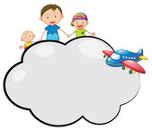 An empty cloud callout with a family and a plane — Stock Vector