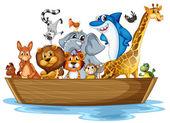 Animal on boat — Stock Vector