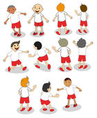 Set of boys playing — Stock Vector
