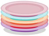 Pila de placas — Vector de stock